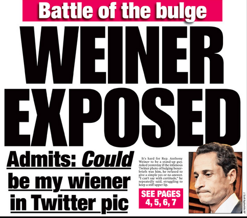 Rejoice! This post is NOT about Weiner.