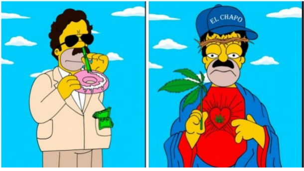 Left: Pablo Escobar, Right: 'El Chapo' Guzman, by Alexsandro Palombo