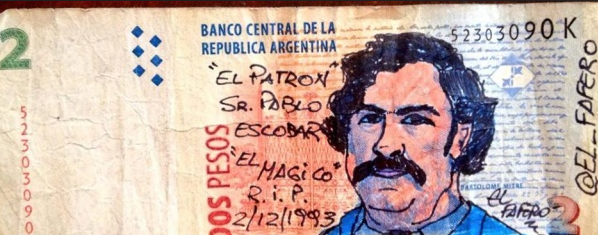 Drawings on the Argentine peso by El Fafero.