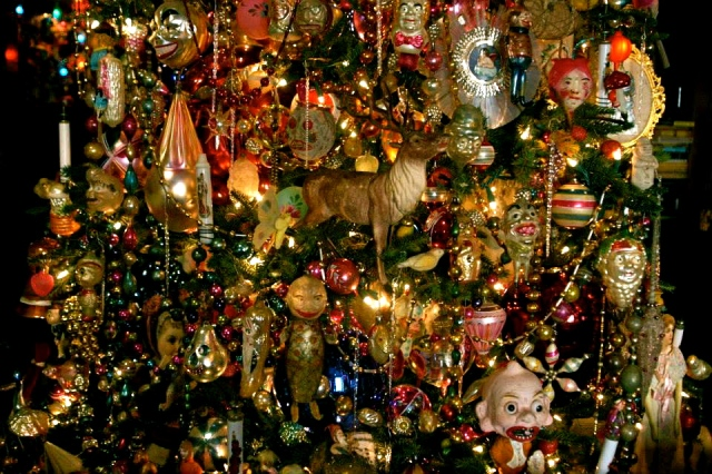 Detail of ornaments on the Christmas tree.