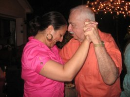 Dancing with daughter, Gina.